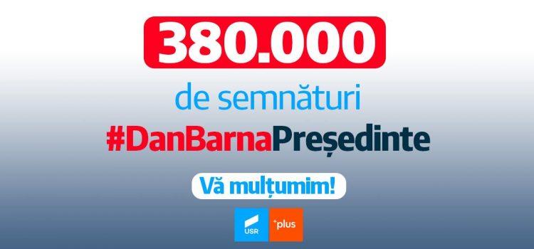 Alianța USR PLUS a strâns peste 380.000 de semnături pentru candidatura lui Dan Barna